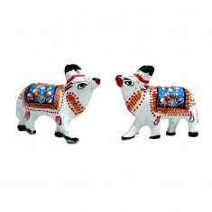 A Pair of White Blue Meena Work Cow