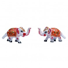 A pair of White Red Meena Work Elephant