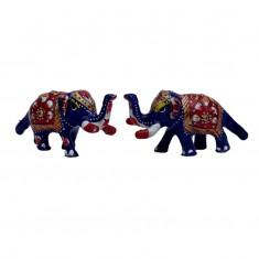 A pair of Blue Meena Work  Elephant