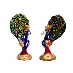 A Pair of Blue Meena Work Peacock