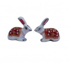 A Pair of White Red Meena Work Rabbit