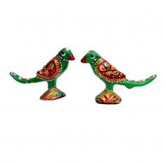 A Pair of  Green Meena Work Parrot
