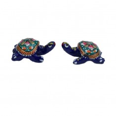 A Pair of Blue Meena Work Tortoise
