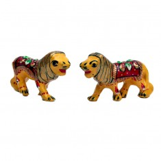 A Pair of Yellow  Meena Work Lion