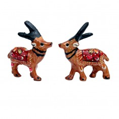 A Pair of Brown Meena Work Deer