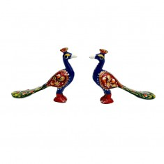 A Pair of Blue  Meena Work Peacock