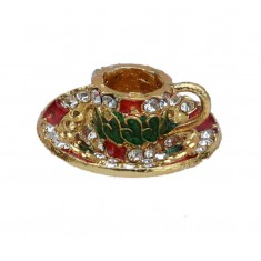 Laddu Gopal Golden Multi Stone Cup Plate Toy