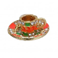 Laddu Gopal Golden Orange Stone Cup Plate Toy
