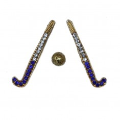 Golden Blue Stone Work Hockey Set