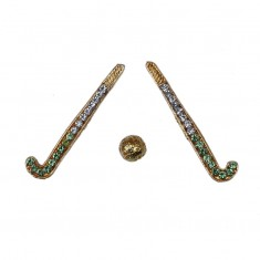 Golden Parrot Green Stone Work Hockey Set