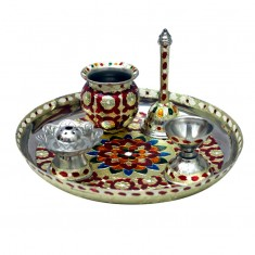 A Set of Five Piece Pooja Thali
