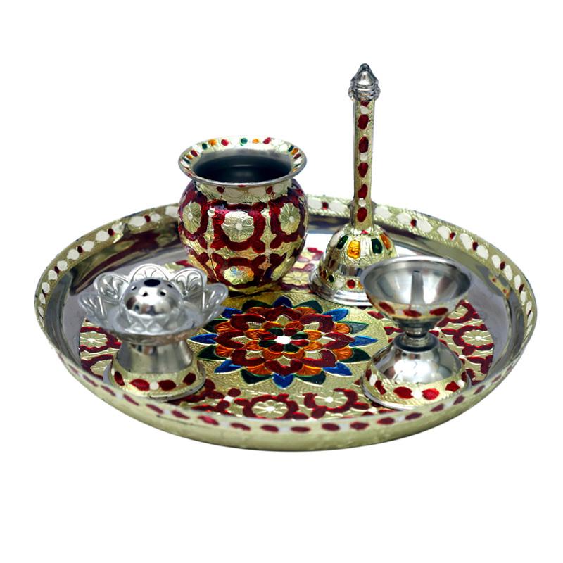 A Set of Five Piece Pooja Thali