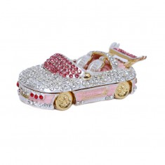 Beautiful Pink Silver Heavy Stone Work Car